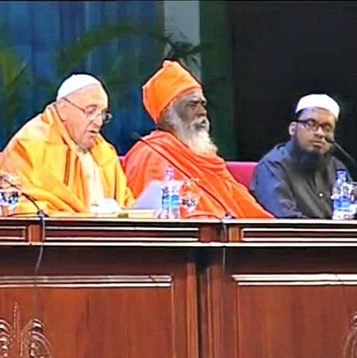 Pope Francis addresses interreligious faith leaders in Colombo, Sri Lanka, on Jan. 13.