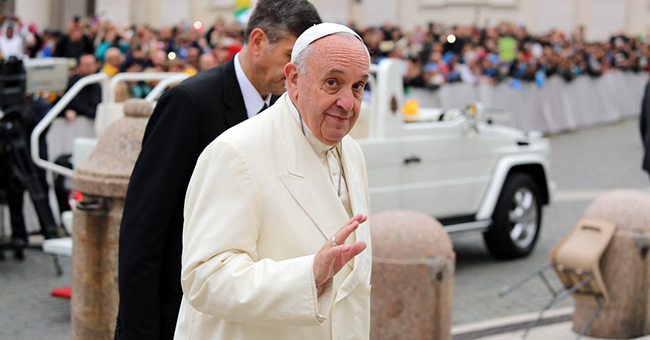 Pope Francis arrives at the general audience in St. Peter's Square on November 18, 2015.