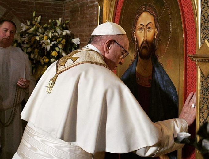 Pope Francis visits All Saints Anglican parish in Rome Feb. 26.