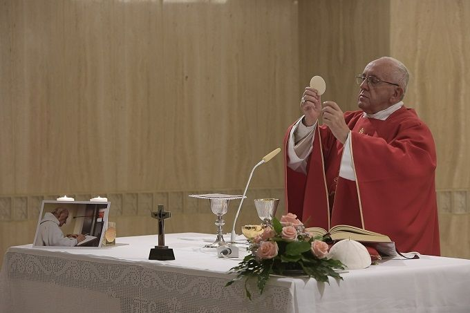 Pope Francis celebrates a Sept. 14 Mass in honor of Father Jacques Hamel.