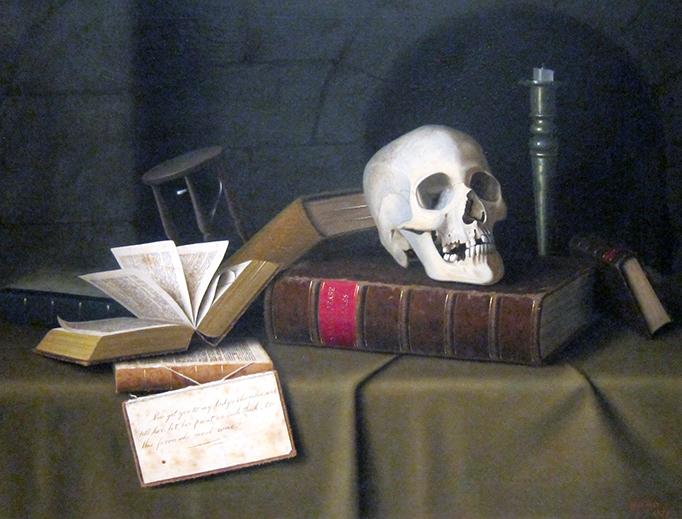 "William Michael Harnett, ""Memento Mori"", 1879, Cleveland Museum of Art via Wikimedia Commons"
