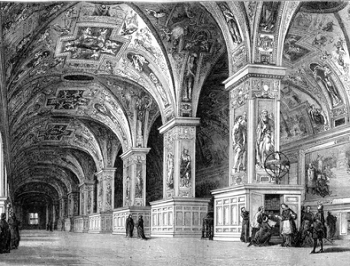 View of the Vatican Library in the eighteenth century, vintage engraved illustration.