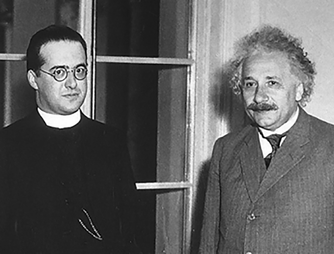 "Msgr. Georges Lemaître (left) is known to the world as ""the Father of the Big Bang"". Albert Einstein (right) is known to The Independent as ""that science guy whose face we recognize""."