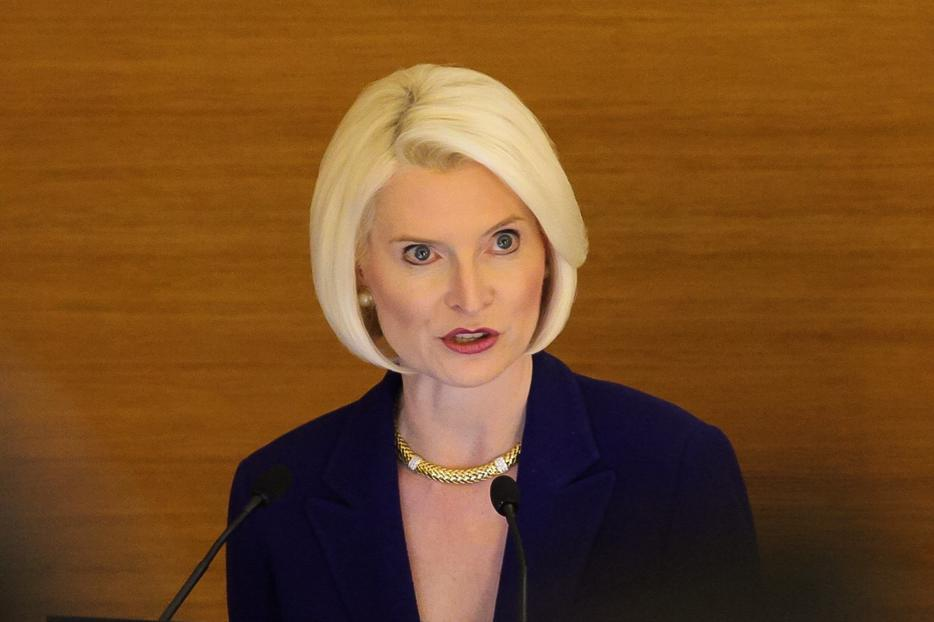 Ambassador Callista Gingrich speaking at the conference 'Building Peace Together' at the Pontifical Urbaniana University, Rome, Jan. 18, 2018.
