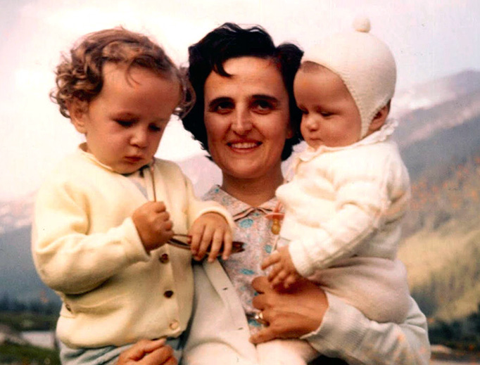 ABOVE: St. Gianna Beretta Molla — INSET BELOW: Eleven girls named for St. Gianna Beretta Molla gather with the saint's daughter after her Nov. 10 presentation at Immaculate Heart of Mary Church in Cuyahoga Falls, Ohio. (Photo courtesy Cristina Thompson)