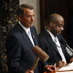 UPHOLDING THE LAW. U.S. House Speaker John Boehner presides over the 112th U.S Congress.