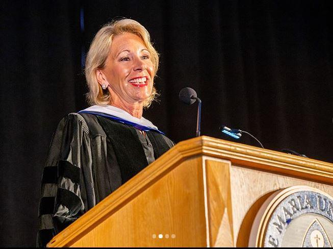 Education Secretary Betsy DeVos addresses graduates May 5 at Ave Maria University.