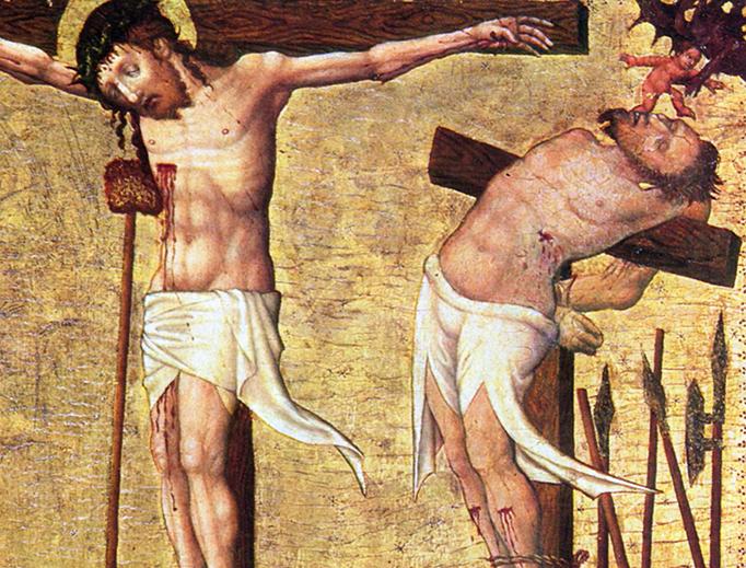 """Hans von Tübingen (1380-1462), """"Crucifixion,"""" ca. 1430, detail of Christ and the Impenitent Thief"""