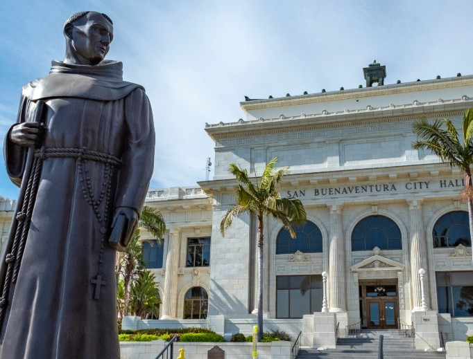 Statue of St. Junipero Serra at the Ventura (California) City Hall