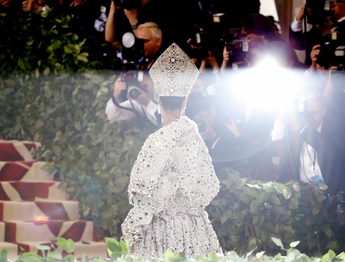 Rihanna attends the 'Heavenly Bodies: Fashion and the Catholic Imagination' gala at the Metropolitan Museum of Art on May 7, 2018 in New York City.