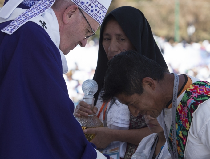 Pope Francis celebrates Mass with representatives of the indigenous communities of Chiapas in San Cristóbal de Las Casas on Feb. 15, 2016.