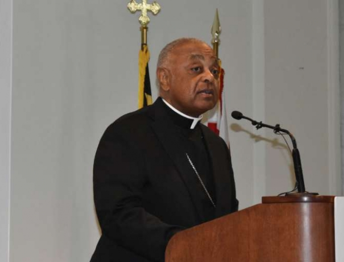 Archbishop Wilton Gregory speaking at a press conference in Washington, DC, April 4, 2019.