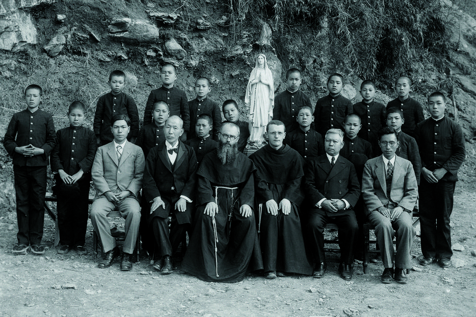 St. Maximilian Kolbe (bearded, in front row) and his companions in Nagasaki, Japan, in 1936.