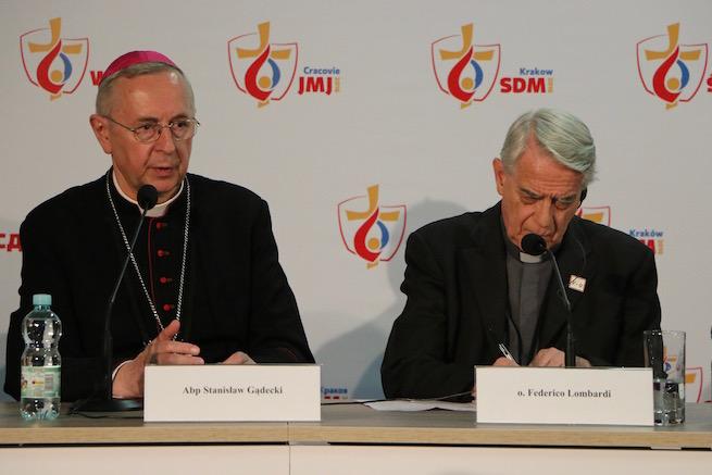 Archbishop Stanislaw Gadecki and Vatican spokesman Father Federico Lombardi speak to reporters in Krakow, July 27, 2016.