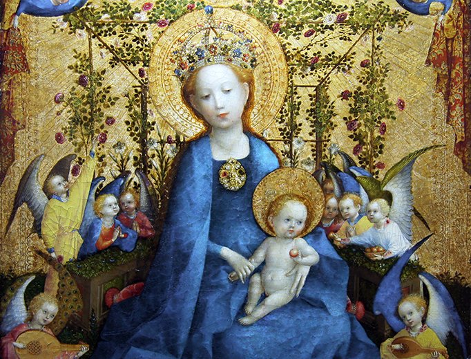 """Stefan Lochner (c. 1405–1451), """"Madonna of the Rose Bower"""""""