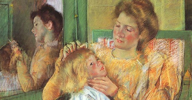 "Mary Cassatt (1844–1926), ""Mother Combing Child's Hair"""