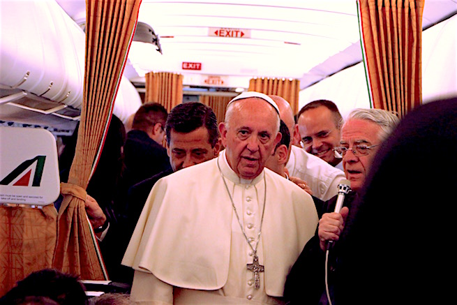 Pope Francis about to answer questions on the papal plane from Armenia, June 26, 2016.