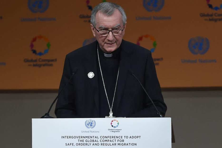 Cardinal Pietro Parolin, shown addressing the United Nations conference on migration in the Moroccan city of Marrakesh on Dec. 10, has said the U.N. 'Global Compact on Migration' comes at a 'critical moment' in history.