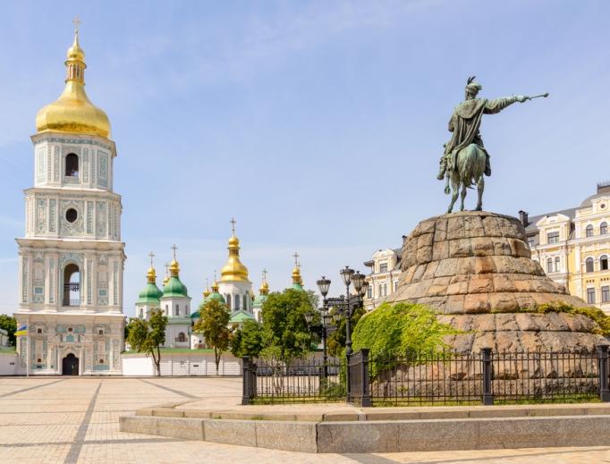 St. Sophia Church and Bohdan Khmelnytsky statue in Kiev, Ukraine