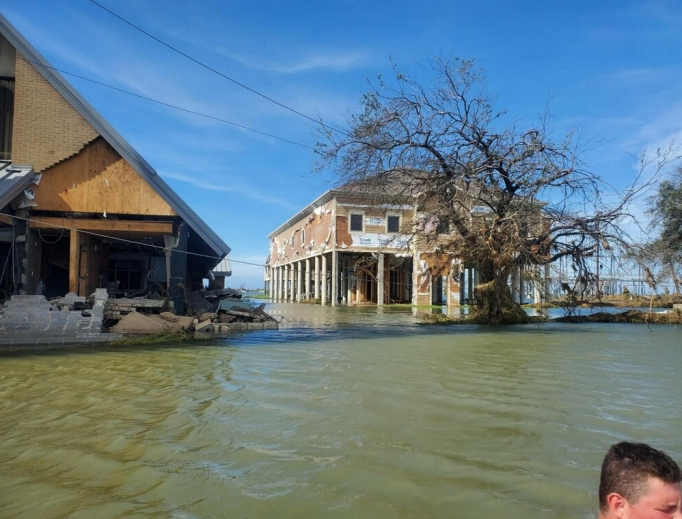 A residential neighborhood in Lake Charles flooded from Hurricane Laura, a Category 4 hurricane that left many homes damaged.