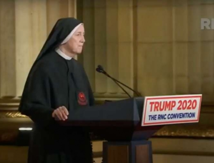 Sister Deirdre Byrne addresses the Republican National Convention on August 26, 2020.