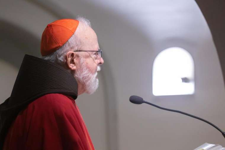 Cardinal Sean O'Malley celebrates Mass in the grotto of St. Peter's Basilica during an ad limina visit of the USCCB.