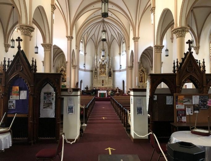 Above, St. Benedict the Moor is a personal parish in the Black Catholic tradition in Pittsburgh. Below is the interior of the Basilica of St. Mary of the Immaculate Conception in Norfolk, Virginia.