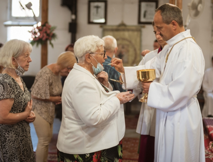 Holy Mass inside a church amid the coronavirus pandemic in Poland on July 19, 2020.