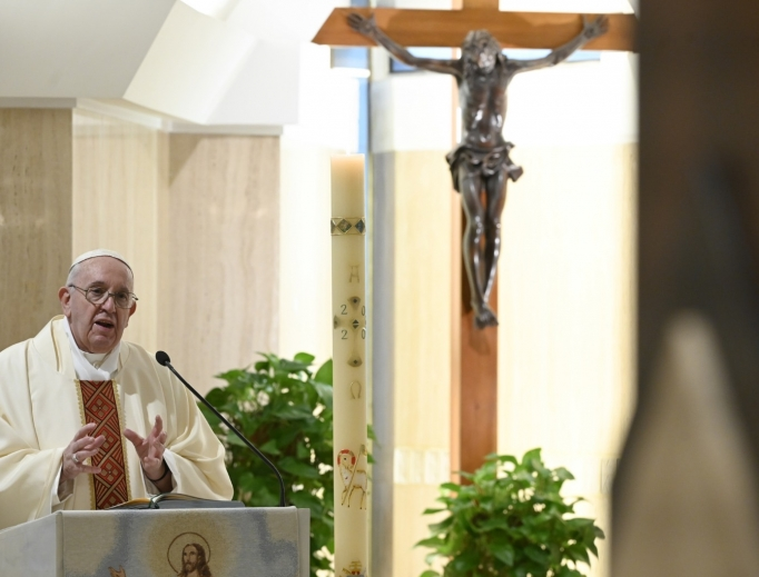 Pope Francis delivers his homily during Mass on April 21, 2020.
