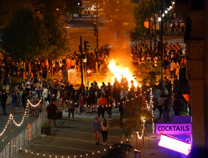 Rioters in the streets of Madison lighting fires to protest the death of Jacob Blake in Kenosha.