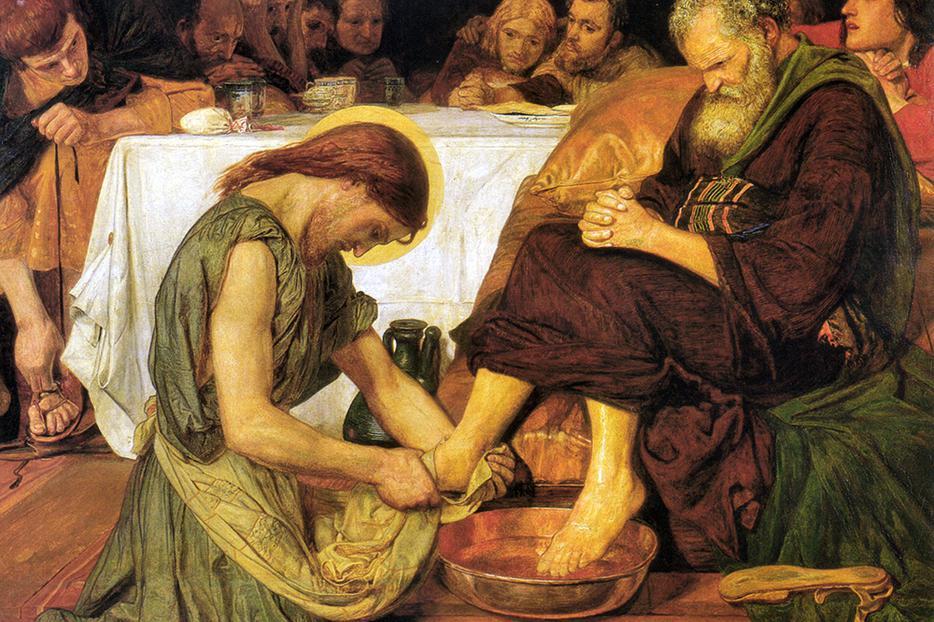 """Ford Madox Brown, """"Jesus Washing Peter's Feet,"""" c. 1854"""