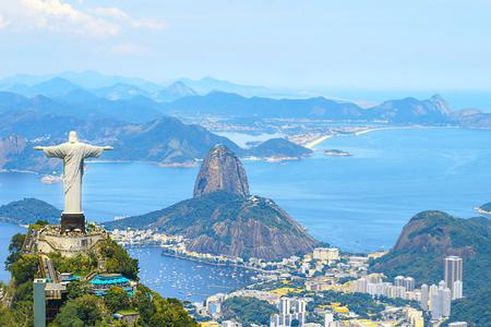 Aerial view of Rio de Janeiro with Christ Redeemer and Corcovado Mountain in Brazil.