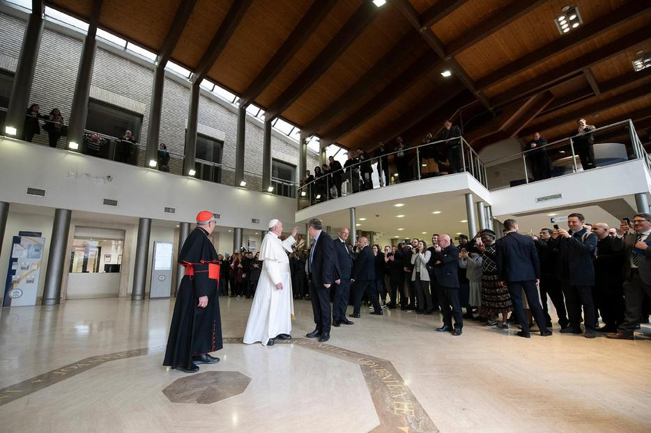 "Pope Francis is shown making a surprise visit on March 25, 2019, to the Pontifical Lateran University, where he led the Lenten ""Lectio Divina"" meditation that the university organizes every year for the academic community. The university resumes in-person classes next month."
