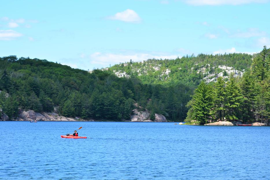 A man kayaks alone on a lake in the Northeast.