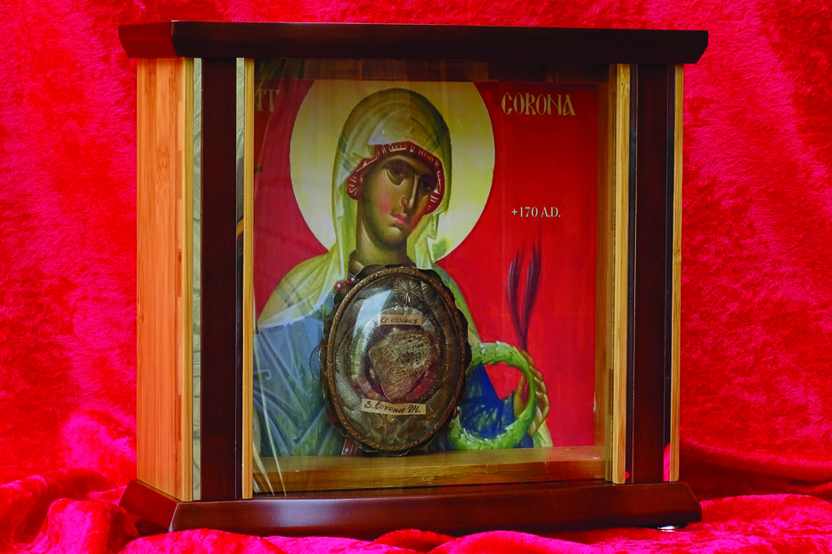 The relic of St. Corona will be displayed alongside a relic of her husband, St. Victor, at Sacred Heart Byzantine Catholic Church in Livonia, Michigan. There will be a two-hour devotion on the last Saturday of every month, beginning Sept. 26.