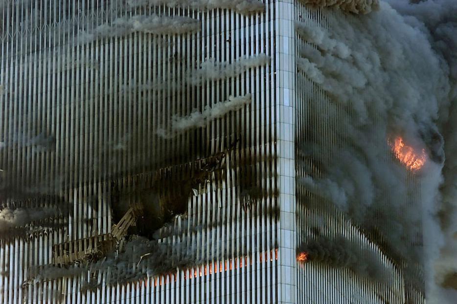 The World Trade Center burns Sept. 11, 2001, in New York City.