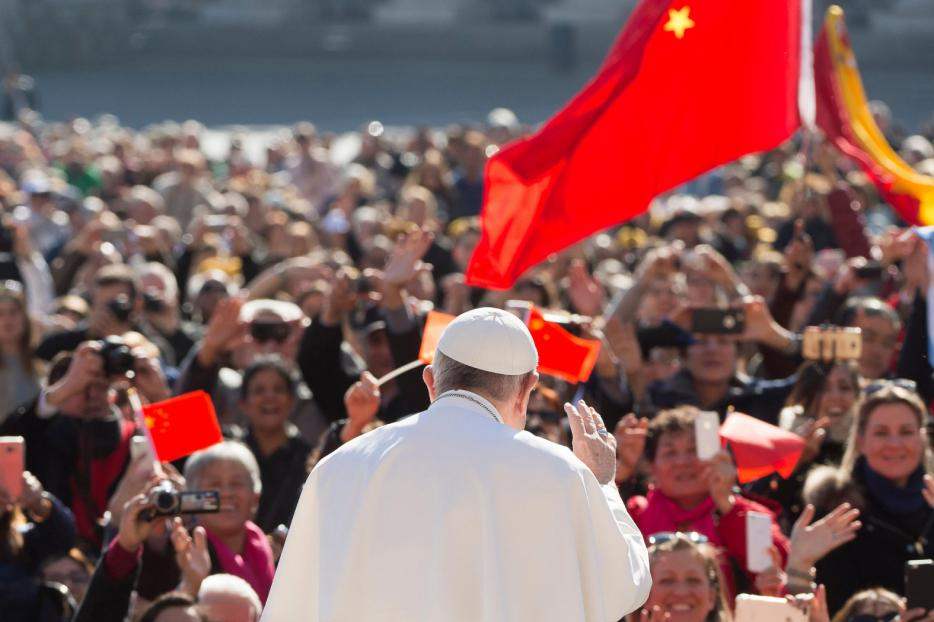 Pope Francis at the general audience with pilgrims from China in St. Peter's Square on March 15, 2017.