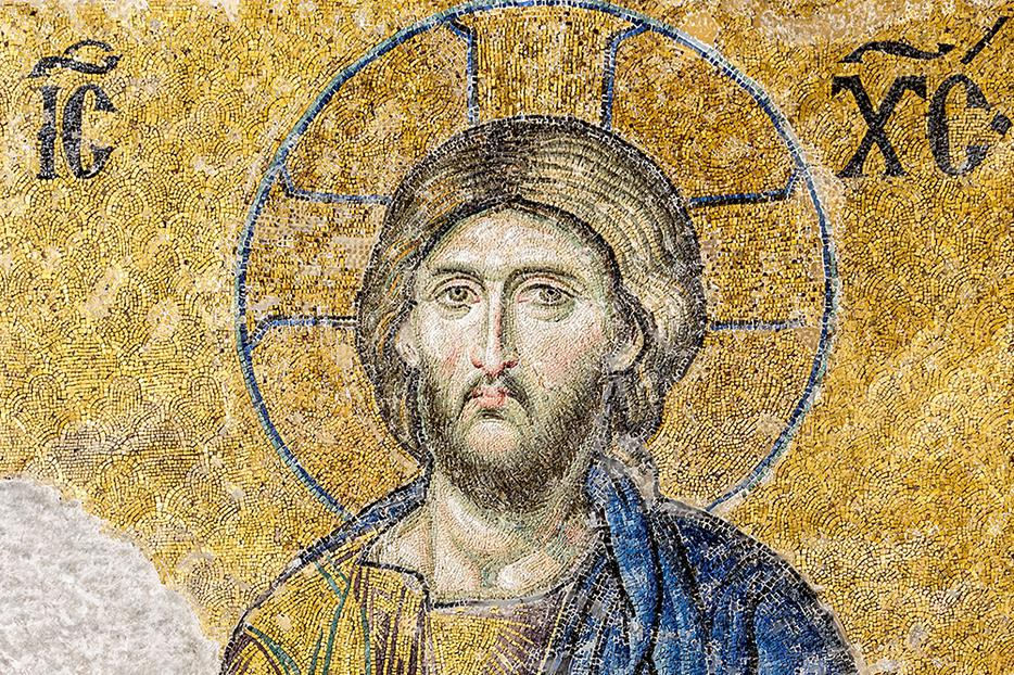 From the 13th-century Deesis Mosaic in Hagia Sophia.