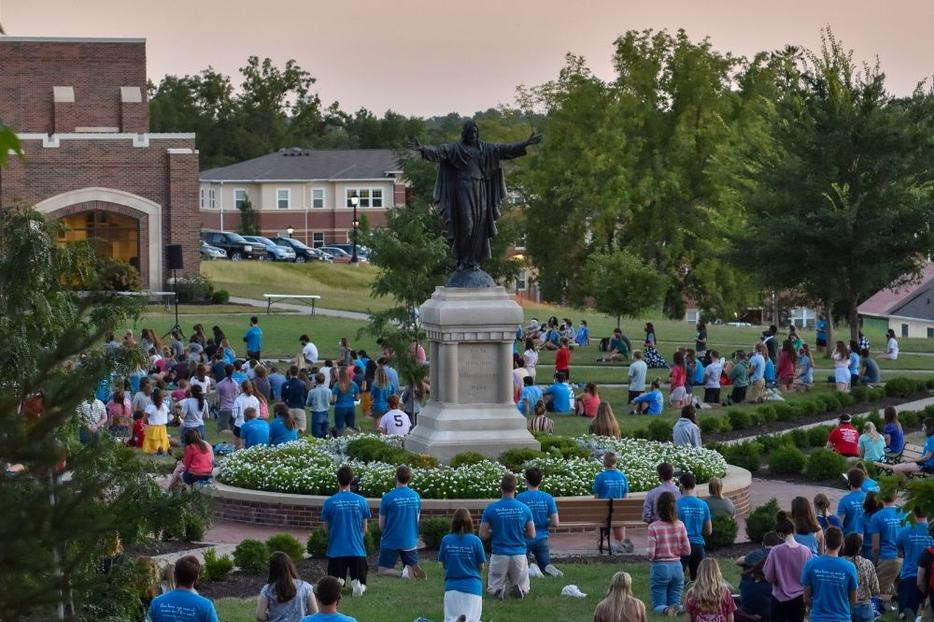 After the county issued a mass COVID-19 quarantine order to the college, students led a Rosary Sept. 3 at Raven Memorial Park on the Benedictine College campus.