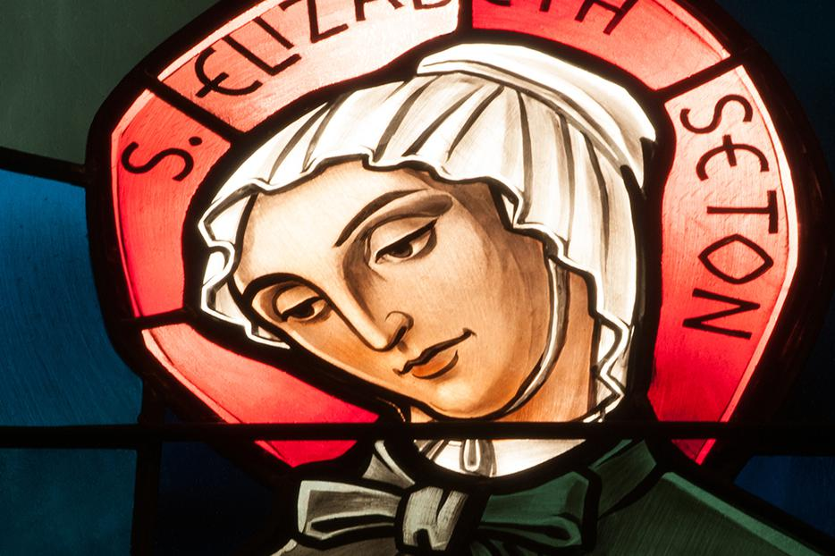 This stained-glass window in Lawrenceville, New Jersey, depicts St. Elizabeth Ann Seton, American saint and founder of Daughters of Charity.