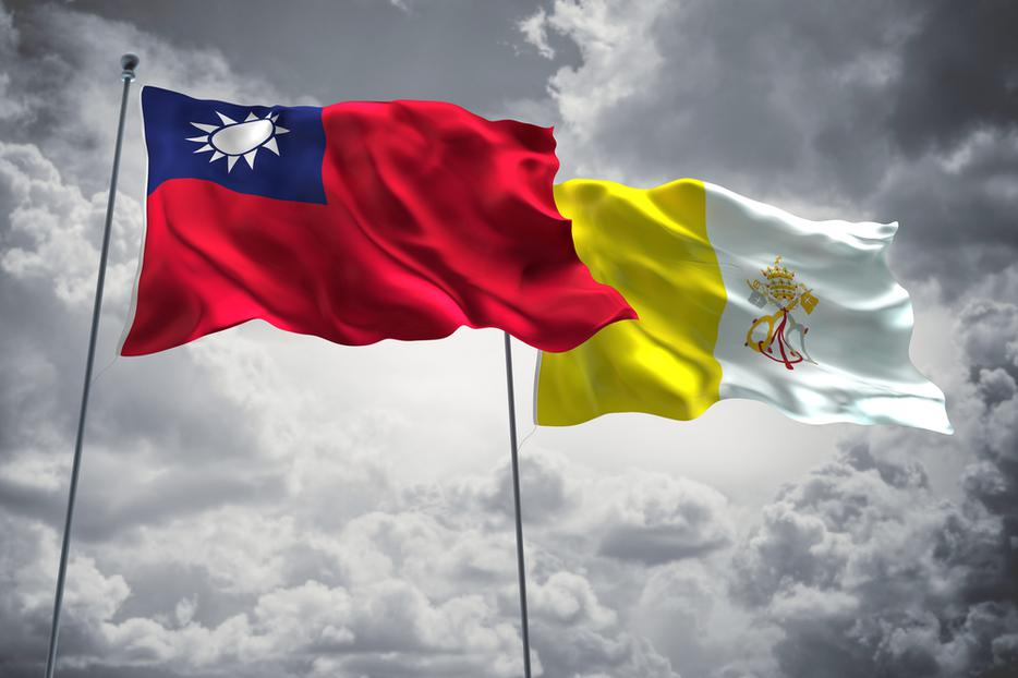 Flag of Taiwan next to the Vatican flag.