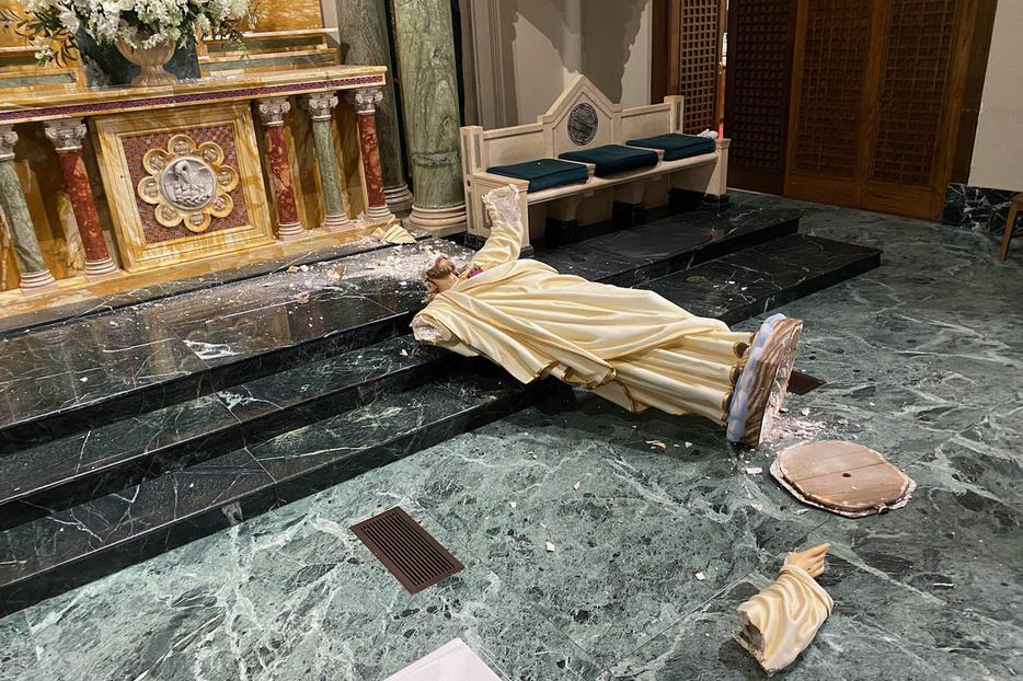Statue of Christ damaged in St. Patrick's Cathedral, El Paso.