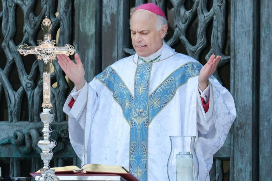 Archbishop Salvatore Cordileone celebrates Mass outdoors on the plaza at St. Mary's Cathedral in San Francisco on August 22, 2020.