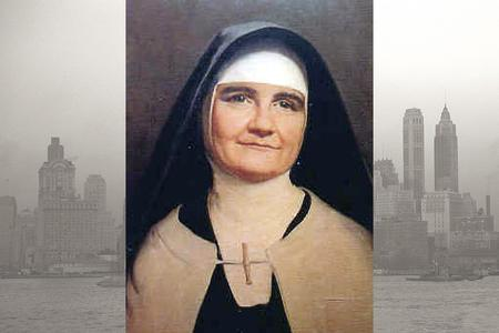 Mother Angeline McCrory is pictured in front of a 1941 New York skyline.