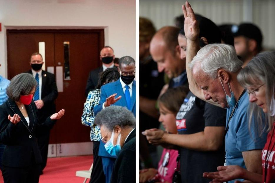 L to R: Clergy members and community activists pray for Democratic presidential candidate Joe Biden during his visit to Bethel AME Church in Wilmington, Delaware, June 1. Supporters of President Donald Trump pray as they await his arrival at Latrobe Airport Sept. 3 in Latrobe, Pennsylvania.