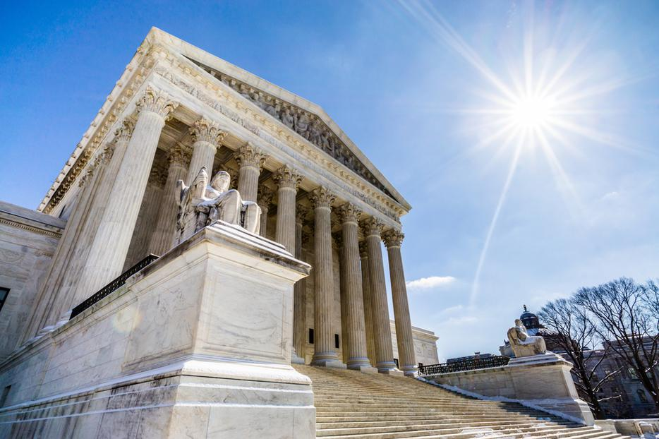 The Supreme Court of the United States in Washington, D.C. on a crisp Spring day.