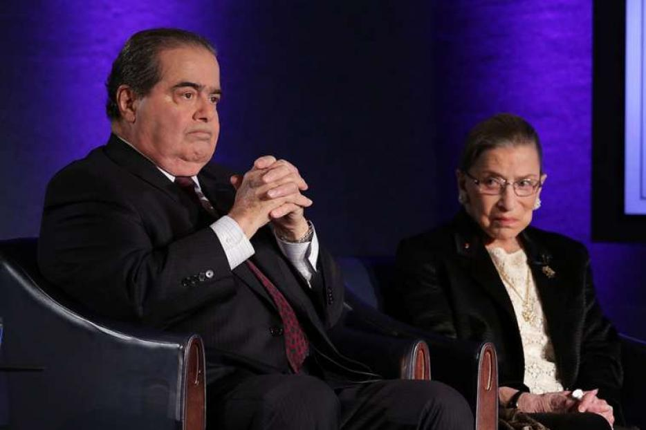 Antonin Scalia and Ruth Bader Ginsburg at the National Press Club in Washington, DC, April 17, 2014.