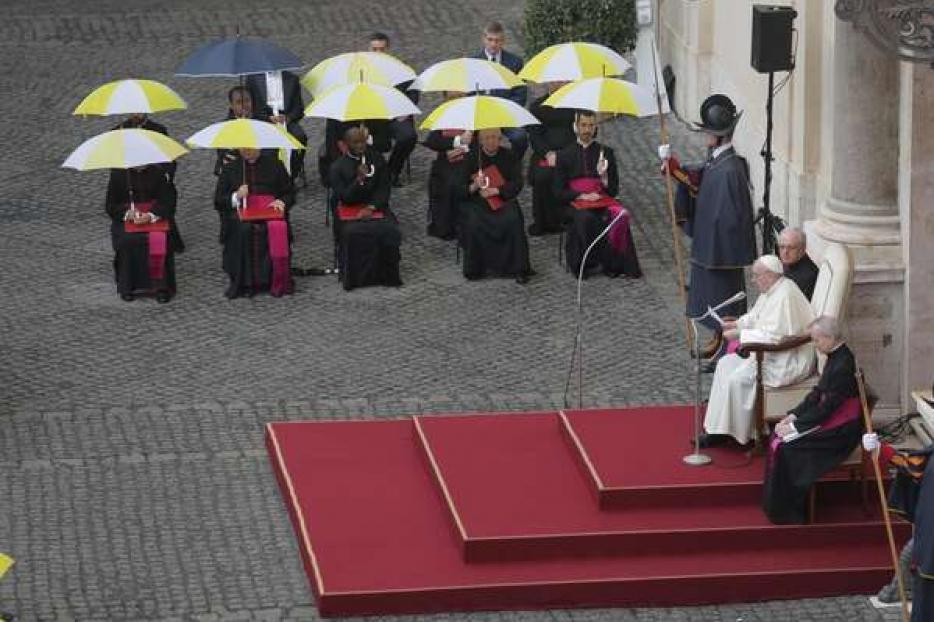 Pope Francis at his general audience in the San Damaso courtyard at the Vatican, Sept. 23, 2020.