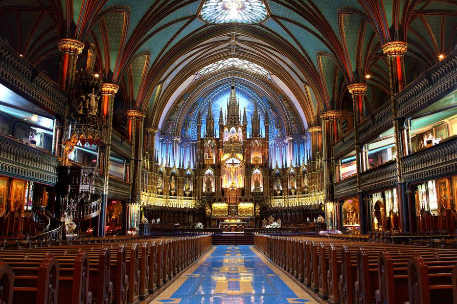 Interior shot of Notre-Dame Basilica in Montreal, Quebec, Canada.