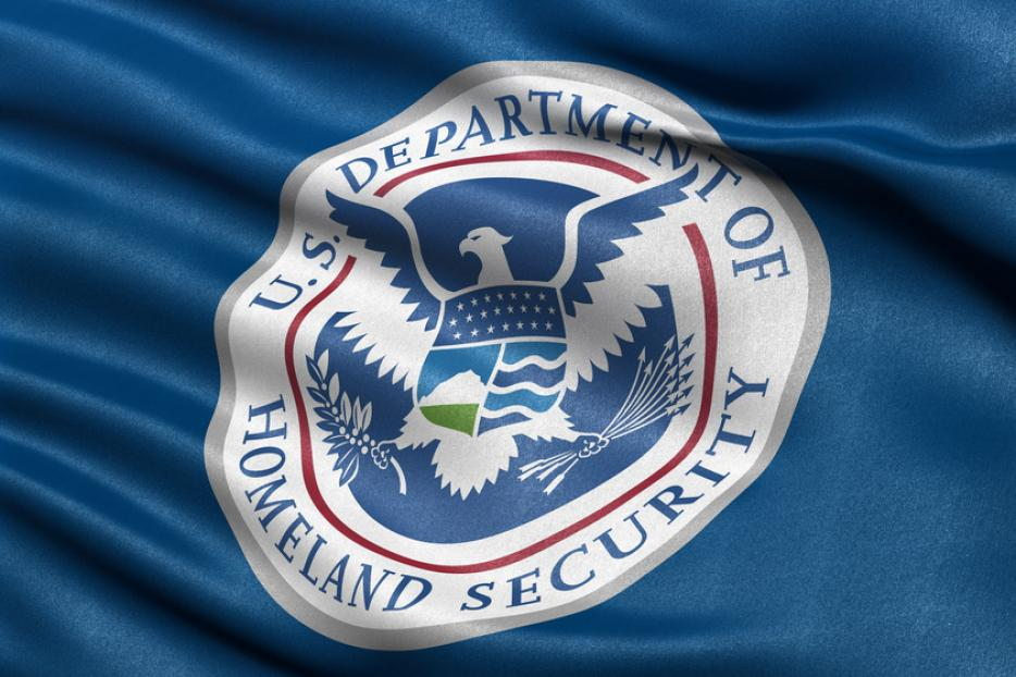 United States Department of Homeland Security blowing in the wind.